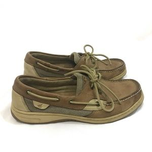 Sperry Top Sider Brown Tan Leather Boat Shoes 8.5M